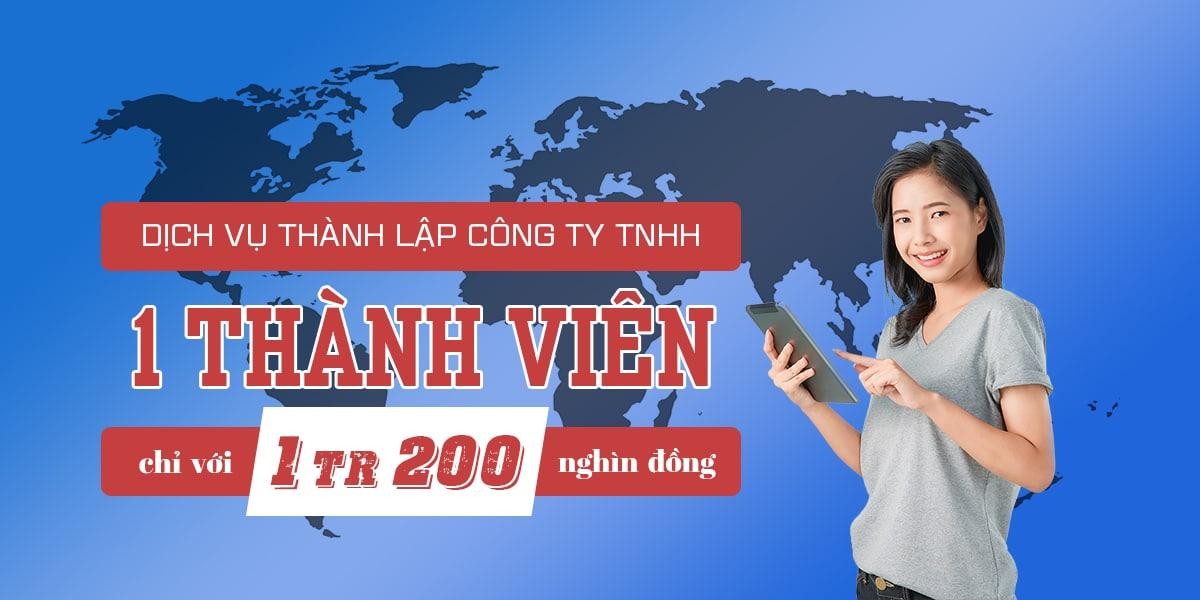 Thành lập công ty TNHH 1 thành viên - Phí dịch vụ 300k