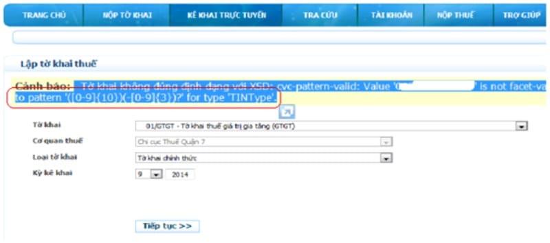 tổng hợp lỗi thường gặp khi nộp tờ khai thuế qua mạng